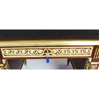 Antique Ornate Ormolu Mounted French Empire Revival Pedestal Desk C1920