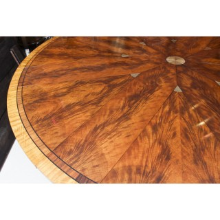 Antique 7ft diameter Flame Mahogany Jupe Dining Table 20th C & 10 chairs