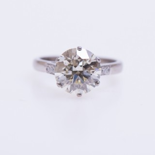 A 3.66 Carat (Certificated) Diamond Solitaire Ring mounted in Platinum, Circa 1950.