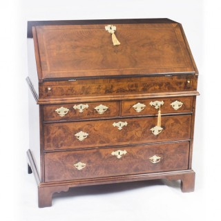 Antique English William & Mary Walnut & Feather Banded Bureau 17th C
