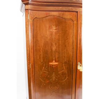 Antique Edwardian Inlaid Wardrobe Attributed to Edwards & Roberts 19th C