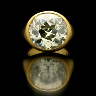 A 15.80ct old mine brilliant cut diamond gypsy ring in satin finished 22ct gold.