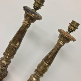 A PAIR OF XVIII CENTURY SILVER LEAF LAMPS