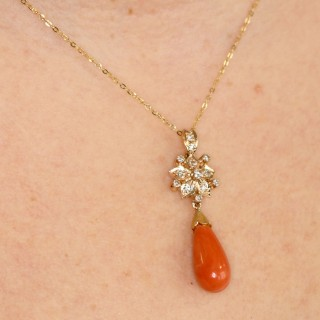 7.62ct Coral and 0.40ct Diamond, 14ct Yellow Gold Pendant - Vintage Circa 1980