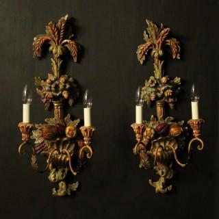 Italian Pair Of Polychrome Wall Lights
