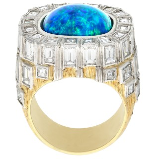 5.94ct Opal and 6.55ct Diamond, 18ct Yellow Gold Dress Ring by Grima - Vintage Circa 1975