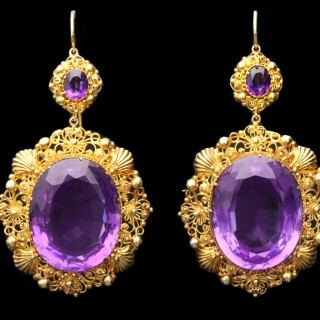 Georgian amethyst and gold cannetille earrings, circa 1820.