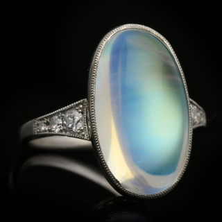 Art Deco rainbow moonstone and diamond ring, English, circa 1920.