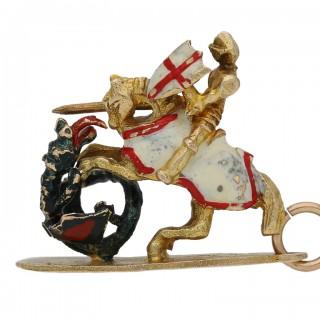 Saint George and the dragon pendant/charm by Georg Jenson, English, circa 1970.