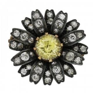 Victorian yellow sapphire and diamond flower brooch, circa 1880.
