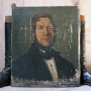 A Mid-Victorian English School Oil on Canvas Portrait of a Gentleman Dated to 1864