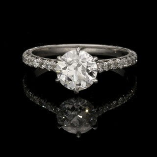 A beautiful 1.05ct old European cut diamond and platinum solitaire ring.