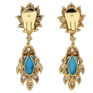Vintage turquoise and diamond day and night clip earrings, circa 1960.