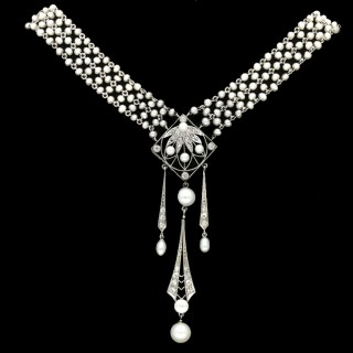 Belle Époque pearl and diamond sautoir, circa 1905.