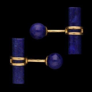 A pair of classic lapis lazuli and 18ct yellow gold T-bar cufflinks.
