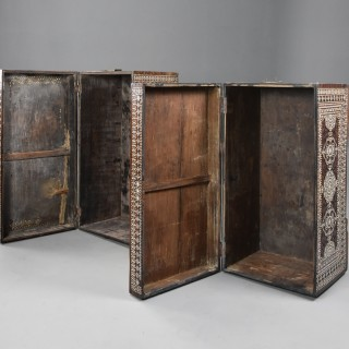 Highly decorative near pair of early 20thc hardwood and mother of pearl Syrian trunks