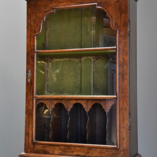 Early 20th century fine quality Queen Anne style walnut bureau bookcase of small proportions