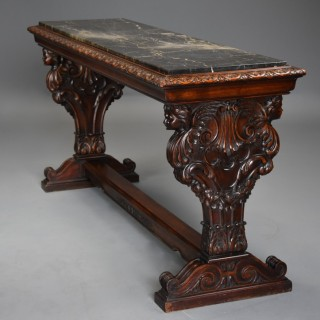 Fine quality Italian 19th century Renaissance style walnut & marble centre table