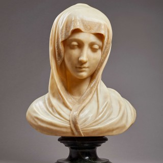 A Sensitively Carved Alabaster Bust of the Madonna