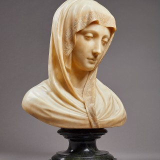 A Sensitively Carved Alabaster Bust of the Madonna