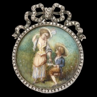 Georgian miniature and diamond brooch, French, circa 1800.