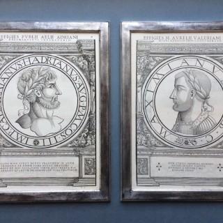 16th century woodcut medallion portraits of Roman Emperors