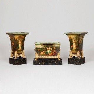 A Three Piece Jardinière Garniture of the Empire Period