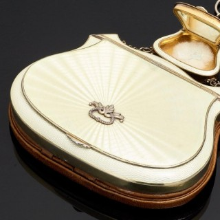 Beautiful Quality Sterling Silver and Guilloche Enamel Ladies Purse, circa 1920