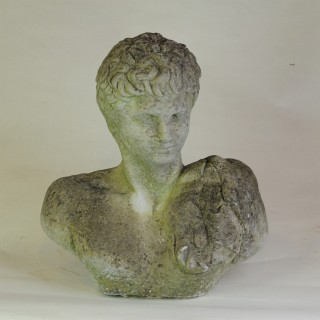Pair of aged 20th century stone busts of Roman Centurions