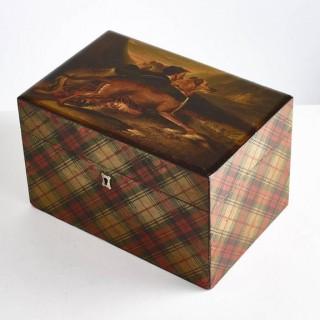 Large Mid-19th Century Signed Royal Stuart Tartan Box, Circa 1830