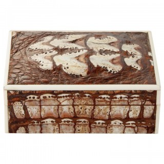 20th Century Art Deco Crocodile Box with Fossilised Surface England Circa 1920