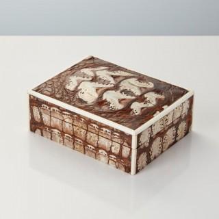 20th Century Art Deco Crocodile Box with Fossilised Surface England Circa 1920