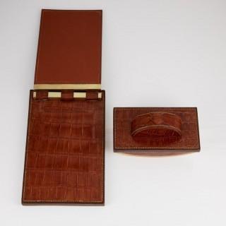 Two 20th Century Art Deco Hermes Paris Crocodile Desk Set Pieces circa 1930-1935
