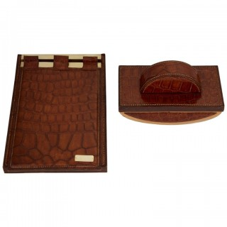 Two 20th Century Art Deco Hermes Paris Crocodile Desk Set Pieces circa 1930-1935