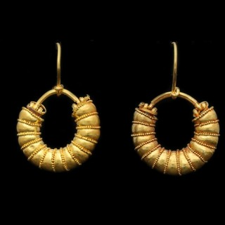 Ancient Greek earrings, circa 5th century BC.
