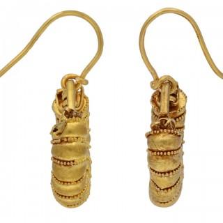 Ancient Greek earrings, circa 5th century BC.