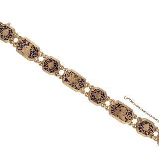 Boucheron guilloché enamel bracelet, French, circa 1890.