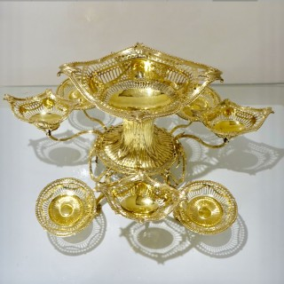 19th Century Antique Victorian Sterling Silver Gilt Epergne London 1898 Gibson & Langham