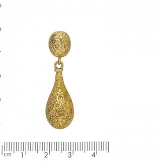 Antique hollow drop earrings in yellow gold, circa 1870.