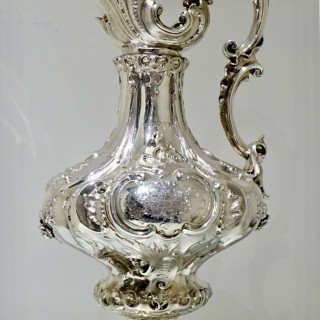 Mid 19th Century Antique Victorian Large Sterling Silver Wine Ewer London 1857 Edward & John Barnard