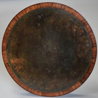 Exceptionally fine quality 19th century rosewood circular occasional table with leather top