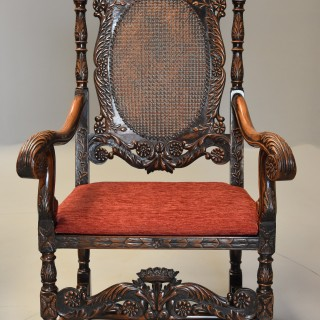 Superb pair of Carolean or Charles II style walnut armchairs of good proportions