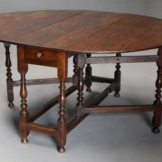 Late 17th century oak gateleg table of good, versatile size with fine patina