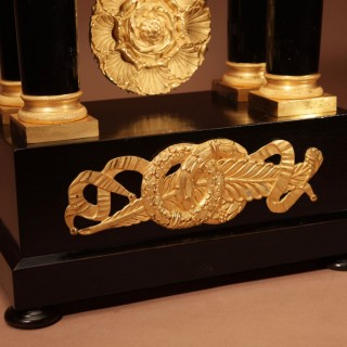 A Finely Made French Louis Philippe Ebonised and Ormolu Portico Mantel Clock Circa: 1840