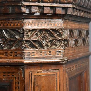 Extremely rare Tuscan 15th century Renaissance walnut sacristy cupboard