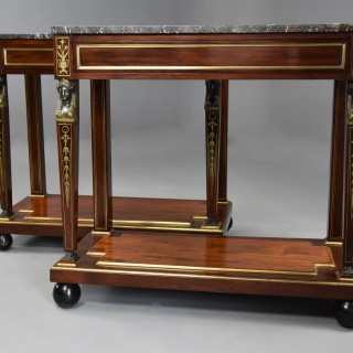Superb quality near pair of early 19th century French Empire mahogany console tables