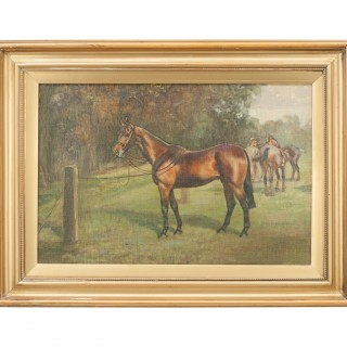 Polo Paintings, Changing Polo Ponies And Waiting In The Lines, Gilbert A. Cattley