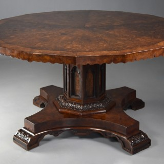 Superb mid 19th century pollard oak centre/tilt top table in the Gothic style with fine patina