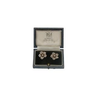 Victorian diamond flower earrings