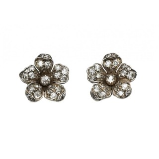 Victorian diamond flower earrings